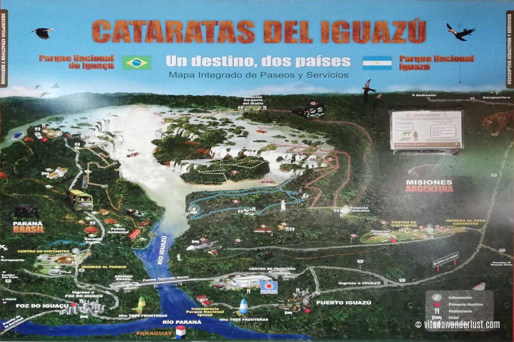 Mappa delle Cascate di Iguazù